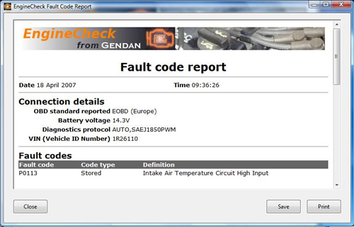 Print fault code reports for customers