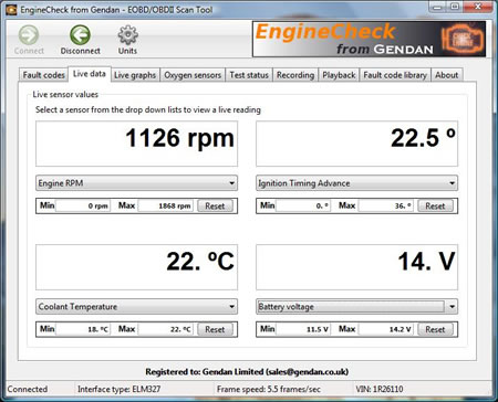 View live engine information