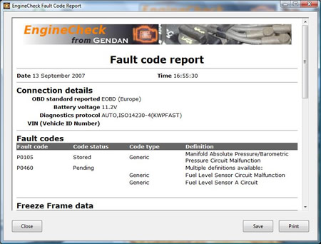 Print or save a fault code report
